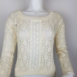 Flying Tomato M Open Knit Lace Accent Sweater